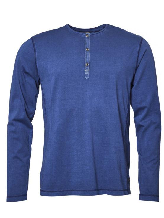 Replika Grandad t-shirt langtærme (Blue)