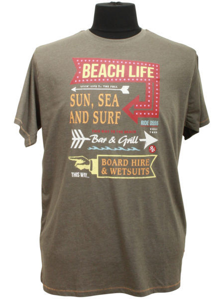 Beach Life Print T-Shirt (Oliven)