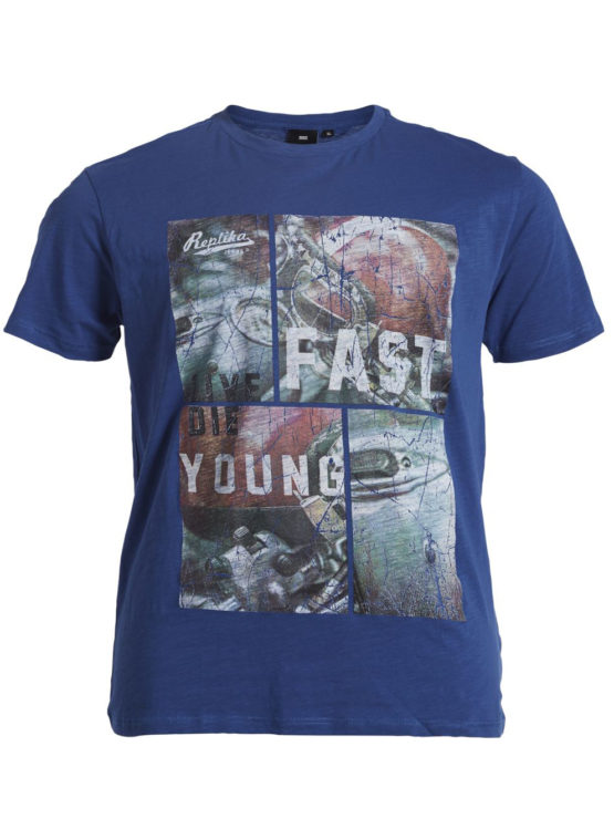 Live Fast Die Jung Print T-Shirt (Blue)