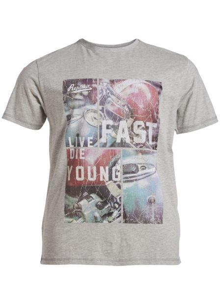 Live Fast Die Jung Print T-Shirt (Grå)