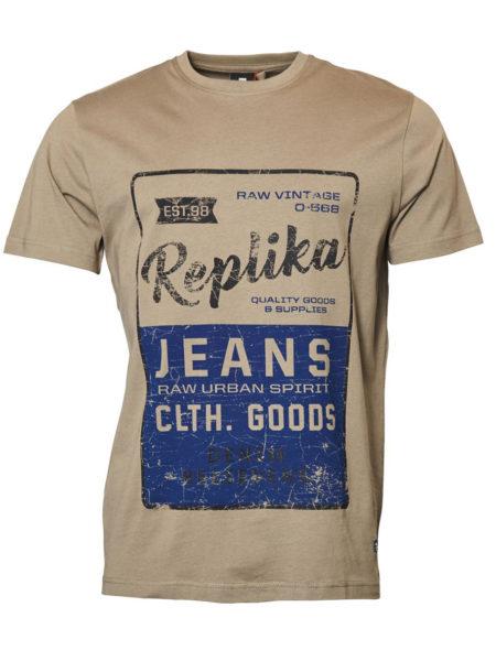 Replika Print T-Shirt (Oliv)