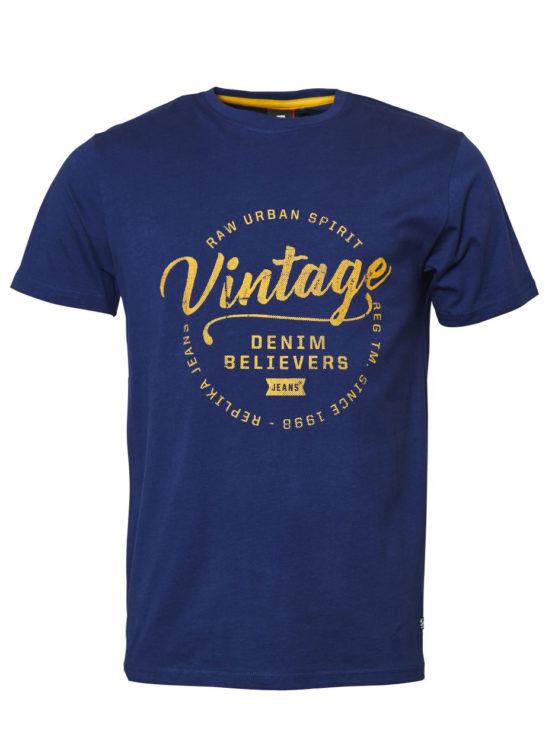 Vintage Print T-Shirt (Cobolt)