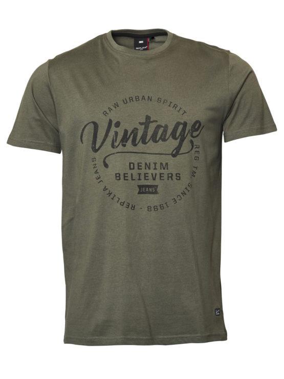 Vintage Print T-Shirt (Oliven)